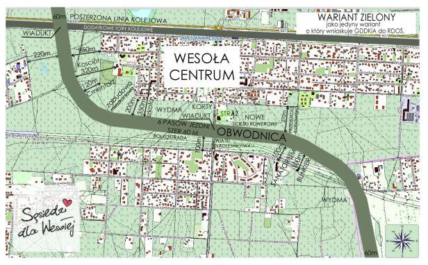 Wariant zielony przebiegu S17 przez Wesołą Sąsiedzi dla Wesołej