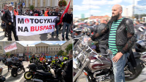 Motocykliści przed warszawskim ratuszem. Chcą jeździć po buspasach