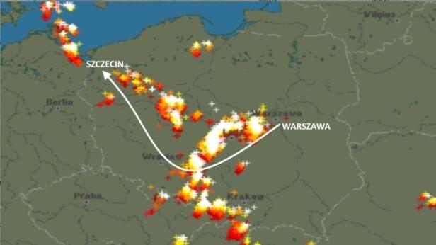 Burze we wtorek 6 czerwca i trasa samolotu Warszawa - Szczecin Blitzortung.org