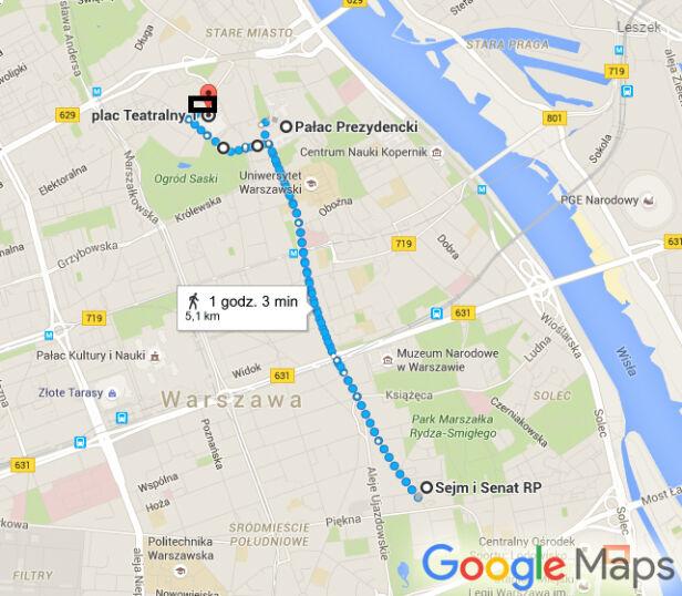 Mapa przemarszu Google Maps
