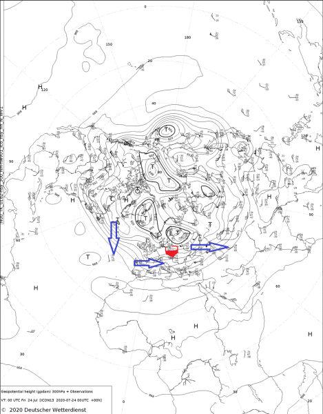 Kierunek przemieszczania się strumienia powietrza na wysokości około 10 km według DWD (Niemiecka Służba Meteorologiczna)