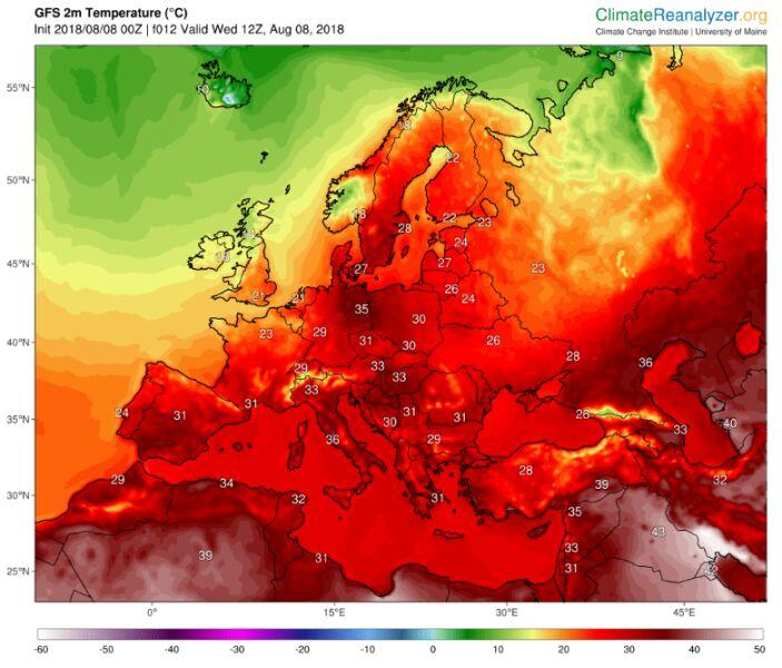 Prognozowana temperatura według modelu GFS na środę 8 sierpnia (ClimateReanalyzer/University of Maine)