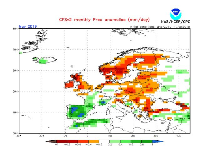 Mapa prognozy odchylenia sum opadów od normy wieloletniej dla maja 2019 (źródło: NOAA)