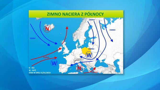Zimne powietrze z Arktyki i Rosji będzie często napływać do Polski