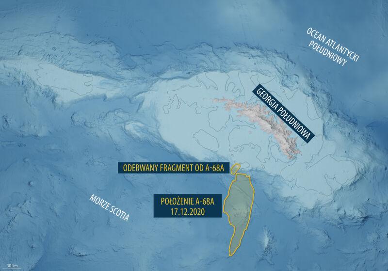 Od góry lodowej A-68A oderwał się fragment lodu (ESA)
